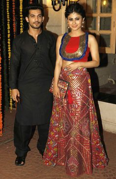 Arjun Bijlani and Mouni Roy : Photos: Ekta Kapoor hosts a star-studded Diwali bash Indian Attire, Indian Wear, Indian Outfits, Bollywood Couples, Bollywood Fashion, Indian Fashion, Love Fashion, Arjun Bijlani, Lit Outfits