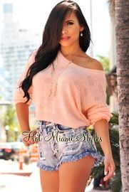 Peach Knit Cropped Sweater Top