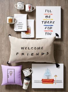 Have you heard about the Friends Pottery Barn Collection? In honor of the show'. : Have you heard about the Friends Pottery Barn Collection? In honor of the show's anniversary, you can shop cute mugs, pillows, and an apothecary table! Friends Tv Show Gifts, Friends Moments, Friends Set, Friends Merchandise Tv Show, Diy Birthday, Friend Birthday, Birthday Gifts, Birthday Ideas, Friends Episodes