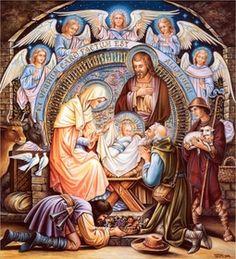 Birth of Jesus Christ Fine Art - Nativity Catholic Art, Religious Art, Birth Of Jesus Christ, Jesus Christus, Jesus Art, Holy Family, Christmas Nativity, Blessed Mother, Vintage Christmas Cards