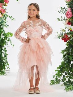 Hi-Lo Bateau Long Sleeves Girls Party Dress with Flowers Red Flower Girl Dresses, Full Gown, Girls Dresses Online, Girls Party Dress, Bridesmaid Dresses, Wedding Dresses, Custom Dresses, Fall Dresses, Special Occasion Dresses
