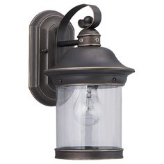 This Hermitage outdoor wall fixture from Sea Gull Lighting features a rich antique bronze finish along with a clear glass shade. Create a warm and inviting presentation for your home's exterior with t