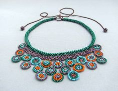 Circle Collage Necklace Seed beaded Necklace by HANWImedicineArt