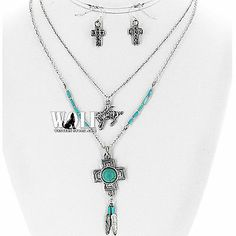 New Western Cowgirl Zia South Cross Horse Bling Women's Necklace Earring Set D | eBay