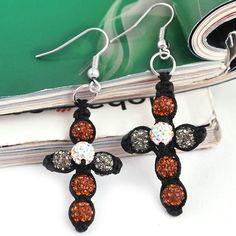 $5.43 63x23mm Orange Crux Cross Rosary Beaded Earrings Pave Clay Disco Crystal Ball Beads http://www.eozy.com/63x23mm-orange-crux-cross-rosary-beaded-earrings-pave-clay-disco-crystal-ball-beads.html