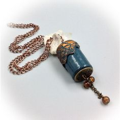 Necklace, necklace, blue pendant, cylinder, polymer clay, antique... ($23) ❤ liked on Polyvore featuring jewelry, antique gold jewellery, antique gold charms, beading jewelry, chain pendant necklace and antique jewellery