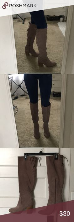 Steve Madden Suede, Lace-Up, Over-the-Knee Boots