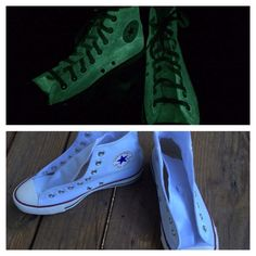 Green Glow-in the-Dark Converse! During the day, they look like regular white converse, and at night their alter ego appears. Charge them up in the sun during the day, and get a fun and mysterious glow at night! These shoes are made with non-toxic paint/dye and have a soft finish as if you were wearing regular Converse!When your order is placed and payment is confirmed, I will order your shoes from Converse, if I don't already have your size in stock or cannot get them from my l...
