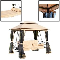 Outdoor Patio Swing Canopy Gazebo 3 Person Daybed Tan with Mesh Walls  sc 1 st  Pinterest & Porch Swing With Canopy Cover Blue Cushion Patio Outdoor Seat 3 ...
