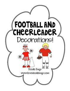 Show your school pride with these fun football & cheerleaders.They colors are red & white.{Sorry, the colors can not be changed to fit your school colors.}Print them out, write in your student's names and put them on a bulletin board or door. Cheer Camp, Cheer Coaches, Cheer Dance, Football Spirit, Cheer Spirit, Football Cheerleaders, Cheerleading, Football Team, Cheer Gifts