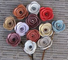 leather flower bobby pins