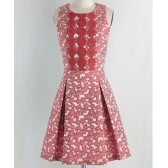 Beautiful dress with red flowers from Modcloth Stunning pale pink Rosalita McGee jacquard dress with red flowers and red lace at bodice.  Pleats at waist. Lined bodice. Rosalita McGee Dresses