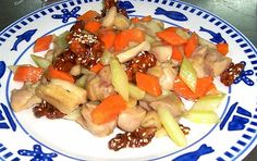 Chinese food, Chinese stir fry, Chicken and celery stir fry with homemade sugar & sesame coated walnut