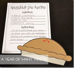 """After reading """"Enemy Pie,"""" have your students write a Friendship Pie Recipe and complete a cute and simple pie craft!"""