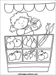 coloriages de fruits et légumes Colouring Pics, Food Coloring, Coloring Pages, Educational Activities, Preschool Activities, Kindergarten Jobs, Art Drawings For Kids, Flower Template, Digi Stamps