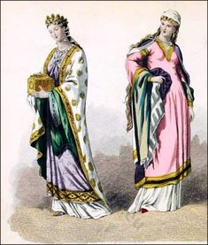 French Middle Ages nobility costumes. 10th century clothing. French Queen court dress