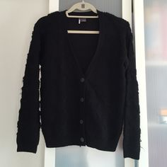 Sparkle & Fade Black Wool Cardigan Worn Once 10/10 Condition This cardigan has triangles stitching. It's a nice subtle detail. Urban Outfitters Jackets & Coats