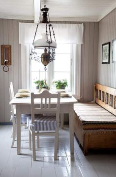 """a bit more unassuming than the grand Gustavian decors to the country east. The lamp is a nice touch (and appropriate for Norways's """"young"""" constitution) Swedish Kitchen, Swedish Cottage, Rustic Kitchen, Cottage Style, Swedish Decor, Country Kitchen, Scandinavian Interior, Scandinavian Kitchen, Farmhouse Table"""