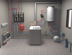 model of in-house heating system on Behance - padló - Geothermal Energy Pex Plumbing, Plumbing Drains, Heating And Plumbing, Mechanical Room, Mechanical Design, Home Heating Systems, Underfloor Heating Systems, Basement Flooring Options, Heat Pump System