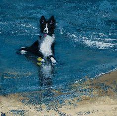 Se trata de una impresión de una pintura de dos de mis cosas favoritas, un perro y una playa. Este Border Collie sin duda tenía un buen tiempo con su pelota en la playa de Aberdeen. El título de la pintura es perro + playa = felicidad.  Se trata de una impresión firmada de mi pintura de acrílico original de un Border Collie. Se imprime profesionalmente sobre hermosa texturado, Museo clásico 310gsm papel usando tintas de calidad archivo para asegurar longevidad, ofreciendo un alto grado de…