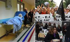 Greece's failing healthcare: why they're literally dying to leave Euro. Babies held hostage for medical fees, porters as paramedics, £19 out of every £20 cut: A searing despatch from Athens's blood-soaked hospitals that shows why Greece is literally dying to leave the Euro Greece is beleaguered by crippling EU debt repayments after its bailout Healthcare system spends half the £13million it spent just five years ago No beds in hospitals, patients told to bring own sheets, faulty ambulances.