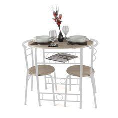 Three-piece dining set aluminum and wood fiber walnut appearance ...