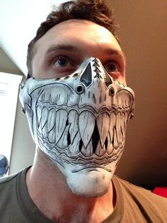 White leather Half skull mask with pointed teeth