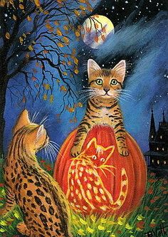 Bengal-kittens-cat-jack-o-lantern-pumpkin-Halloween-moon-OE-aceo-print-art