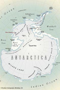 A map for an Antarctic explorer's wall © Eureka Cartography, Berkeley, CA