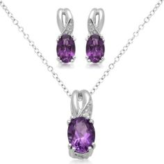 "Sterling Silver Oval Amethyst and Diamond Ring, Pendant Necklace, Earrings Box Set, Size 7 Amazon Curated Collection. $80.00. The natural properties and composition of mined gemstones define the unique beauty of each piece. The image may show slight differences to the actual stone in color and texture. Width of Pendant:0.225"", Width of Ring:2.5mm, Width of Earring:0.176"". All our diamond suppliers certify that to their best knowledge their diamonds are not conflict..."