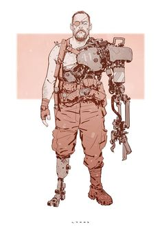 Character sketch inspired by a terrific bloke named Derrick and the new Mad Max flick. Character Concept, Character Art, Concept Art, Character Illustration, Illustration Art, Mode Cyberpunk, Cyberpunk Character, Ex Machina, Mad Max