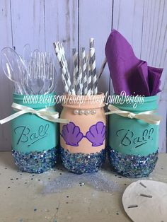 Turquoise mermaid birthday party decor, birthday centerpiece, room decor, desk decor