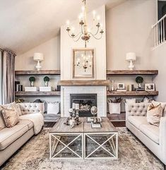 54 Rustic Farmhouse Fireplace Ideas For Your Living Room Farmhouse Living Room farmhouse Fireplace ideas living room Rustic Small Living Room Design, Family Room Design, Living Room Designs, Living Room Decor Fireplace, Chic Living Room, Living Rooms, Usa Living, Apartment Living, Apartment Ideas
