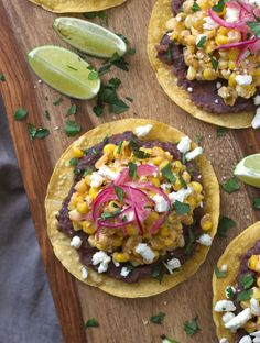 These simple vegetarian and gluten-free Mexican street corn tostadas are flavored with sour cream, chili, lime, garlic, and plenty of crumbled cheese.