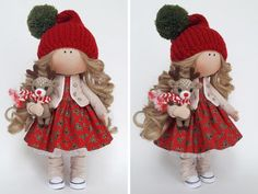 Christmas Art Doll, Handmade Gift Doll, Soft Fabric Doll, D Red Nursery, Child Doll, Fabric Dolls, Christmas Art, Have Time, Art Dolls, Soft Fabrics, Doll Clothes, Textiles