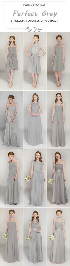 sky grey bridesmaid dresses from tulle and chantilly