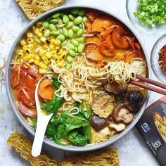 Loaded noodle bowl, full of yummy veggies with  Lotus Foods Rice Ramen Noodles. Recipe is on our website. #vegan #ramen Ramen Soup, Ramen Noodles, Noodle Salad, Noodle Bowls, Colorful Vegetables, Veggies, Homemade Ramen, Vegan Ramen, Sweet Potato Chips