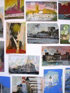 Altered postcards by Lari Washburn