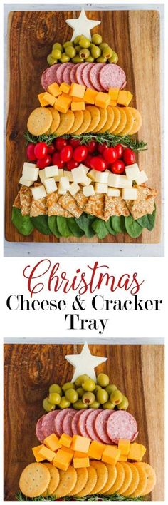 A beautiful Christmas Tree Cheese and Cracker Tree!  So festive and fun!  |  mynameissnickerdoodle.com