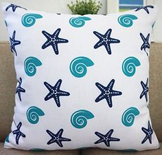 Beach Theme Howarmer Aqua Blue Decorative Throw Pillow Covers.  Beach themed throw pillow cases or toss pillow covers with anchors, starfish, shipwheels, fish, seashells, and more!