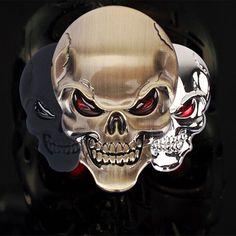 3D Metal Skull Motorcycle Decals