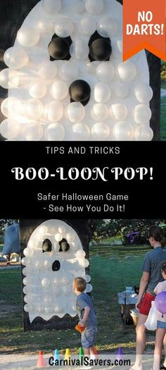 DIY Halloween Game - No DARTS Needed - BOO-Loon Pop! Check out the Video too! See how to make this safer balloon pop Halloween game! Great for kids and family Halloween parties! games at work BOO-Loon Pop - Unique Halloween Game Idea - NO Darts Needed! Halloween Tags, Halloween Carnival Games, Halloween Party Activities, Fall Carnival, Halloween Balloons, Halloween Games For Kids, Halloween Designs, Halloween Festival, Halloween Birthday