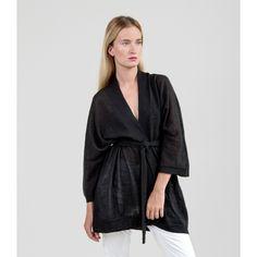 Airy Kimono & Tie Belt - Jet Gray