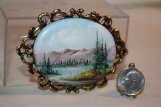 Miniature Dollhouse Betty Graves Mountain Lake Painting on Porcelain 1:12 NR #Artisan
