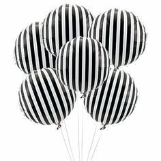 Black Striped Mylar Balloons