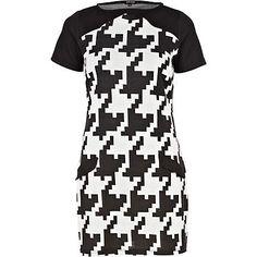 black dogtooth print shift dress - shift dresses - dresses - women - River Island