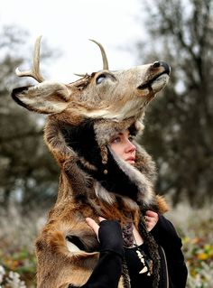 Woman wearing a deer headdress