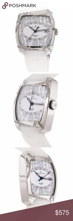 JUST IN  Pre-Owned Officina Del Tempo Marakech Pre-Owned Officina Del Tempo Marakech quartz watch, features a 35mm x 35mm stainless steel case with diamond bezel surrounding a white dial on a white rubber strap with a stainless steel deployment buckle. Functions include hours, minutes, seconds and date. This watch does not come with box or papers.  No trades! Officina Del Tempo Accessories Watches