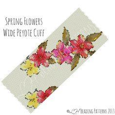 Peyote Bracelet Pattern, Spring Flowers Wide Cuff Peyote Pattern, Digital PDF Pattern - Buy 4 get 1 FREE - Instant Download