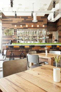 like the open feel light woods and metallic chairs like the use of grass wheatgrass on the counter - Light Hardwood Restaurant Decoration